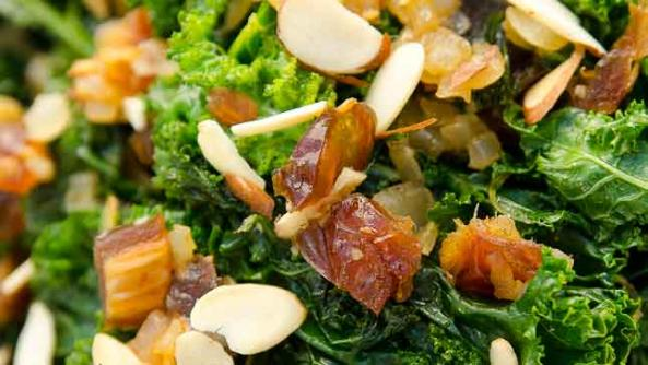 Sauteed Kale with Almonds and Dates
